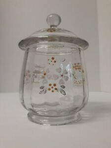 Vintage Clear Fused Glass Enamel Hand Painted Biscuit Jar Gold White Flowers