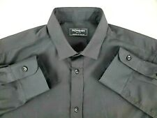 Yves Saint Laurent Beaute Medium M Black Italian Uniform Shirt Button Up YSL