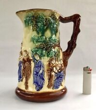 Antique Majolica Pitcher Decanter Nimy Les Mons | Tavern pattern Ca. 1890 - 1906