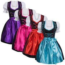 Dirndl Set 3 tlg. Trachtenkleid schwarz Hak. + Bluse + Schürze in 5 Farben NEU
