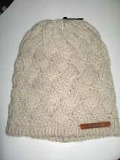 BNWT - BENCH Criss Cross Cable Knit Beanie Hat  Stone   Small