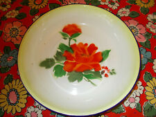 Vintage Chinese enamel bowl dish with floral design