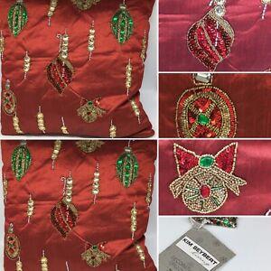 x2 Kim Seybert Christmas Ornament Decor Pillow Set Red Bead Sequin Large 22x22