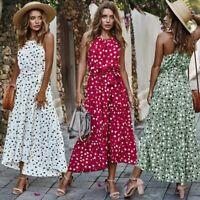 Women Flower Print Summer Dress Halter  Beach Sleeveless Long Maxi Sundress LIU9