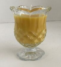 Coconut Scented Beeswax Candle in Heavy Cut Glass Pedestal Cup with Fluted Edges