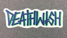 DEATHWISH Skateboard Sticker 6.4in blue green si