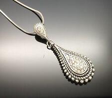 Pewter Tear Drop Crystal Necklace Pendant Silver Wedding Gray Long Antique