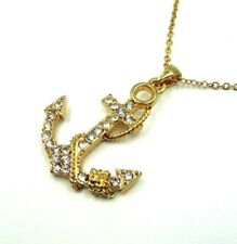 BEAUTIFUL GOLD ANCHOR PENDANT WITH CRYSTAL RHINESTONES ON GOLD CHAIN