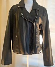 Women's Faux Leather Jacket Biker Black Size US 1x Plus Size NWT Silver Zips New