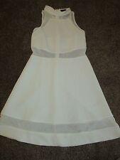 NEW UK 10 Topshop Dress White High Neck Sheer Mesh Net Panels Skater Summer