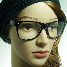 RETRO Oversized Geek Nerd Unisex Frame Trendy Clear Lens Eye Glasses BLACK NEW