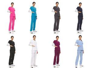 Unisex STRETCH Jogger Scrub Set Solid V-Neck Top Men Women Jogger Nurse Uniform