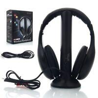 New 5 in 1 Hi-Fi Wireless Headset Headphone Earphone for TV DVD MP3 PC Black