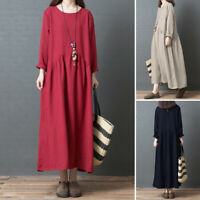 UK Womens Casual Loose Long Maxi Cotton Linen Kaftan Abaya Back Tie Shift Dress
