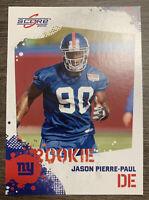 2010 Score Panini JASON PIERRE-PAUL Rookie Football Card New York Giants NM-MT