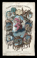 santino incisione 1700 I SETTE PECCATI CAPITALI  dip.a mano