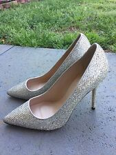 New J.CREW Roxie Glitter Pumps Heels Sz 8.5 Gold Silver $278 E0784 Made In Italy