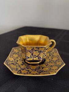 VINTAGE ROSENTHAL SELB KUNSTABTEILUNG TEA CUP SAUCER HEAVY GOLD COBALT  BLUE