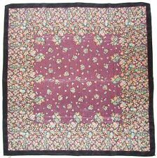 Vintage SMALL FLORAL Print POINTILIST Pink Blue Green BLACK Silk Fashion SCARF