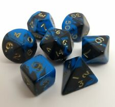 Oblivion roleplay dice set. Blue and black with gold numbers. Contains 7 dice.
