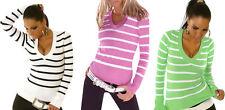 Lange gestreifte Damen-Pullover & -Strickware mit V-Ausschnitt