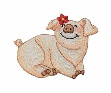 Smiling Farm Pig - Piglet/Red Daisy/Flower - Iron on Applique/Embroidered Patch