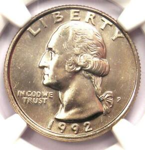 1992-P Washington Quarter 25C - NGC MS67 - Rare Date in MS67 Grade - $375 Value!