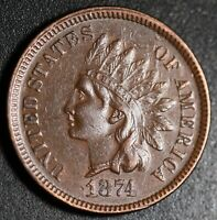 1874 INDIAN HEAD CENT With LIBERTY & DIAMONDS - XF EF+