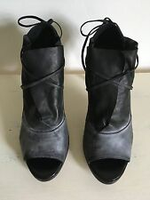 LD Tuttle Titania Black Leather Open Toe Heels Booties Wrap Sandals US Size 8