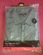George long sleeve slim fit shirt 16 1/2 inch collar grey black bnwt smart M L
