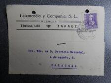 FECHADOR ZARAUZ TARJETA PUBLICIDAD LETEMENDIA Y Cª  AÑO 1940