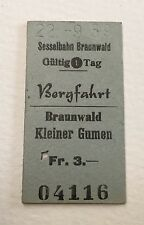 Old Vintage 1950s Swiss Cable Car Railway Ticket - Braunwald Bergfahrt