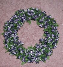 Large purple lavender berries w/ green silk leaves candle ring or wreath Lovely