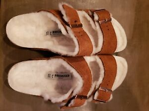 Birkenstock Arizona Fur Women's sz 10 narrow (size 41) Mink Color