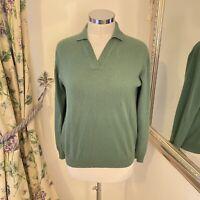The Cashmere centre M 12 14 green 100% cashmere cosy collared jumper pull over