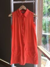 Lovely •Zoe & Sam• 100% Silk Orange Sleeveless Shift Dress Size S EUC