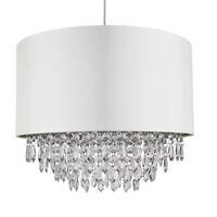 Large Modern 40cm Cream Ceiling Light Pendant Shade Chrome Inner & Clear Jewels