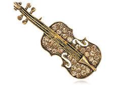 Musician Sonata Soloist Topaz Crystal Rhinestone Violin Instrument Pin Brooch