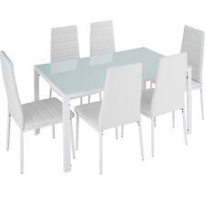 Lot de 6 chaises table salle à manger ensemble cuisine salon set meubles blanc