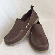 CROCS Santa Cruz Slip On Loafer Casual Shoes Khaki Brown Canvas Mens Size 9 42