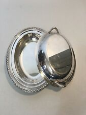 Silver plated 2 pc Oval Covered Serving Dishes Platter w/ handles lid Christmas