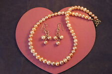"""Beautiful  Necklace Set With Multi Colored Pearls 16"""" Inches.Long + Extension"""