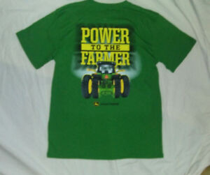 JOHN DEERE M NWT Green Power To The Farmer Tractors Plows T Shirt Tee T-Shirt