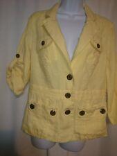 Chico's Size 1 (8-10) Women's Yellow Linen Blazer Jacket Women's Career Top   T5