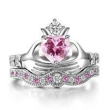 Women Fashion Silver Plated Pink Kunzite Irish Claddagh Wedding Ring Set Sz 6-10