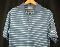Nike Golf Fit Dry Short Sleeve Polo Golf Shirt Blue Green White Stripe M