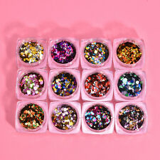 12 Box Fashion Nail Art Sequins UV Gel Shiny Round Decoration DIY Tips 12 Colors