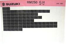 Suzuki RM250 1986 1987 Parts Microfiche s257