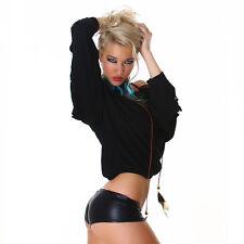 Sexy Langarm Shirt Pullover Pulli Carmen Ausschnitt offen Arme Schwarz  34 36 38