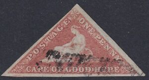 Cape of Good Hope 1858 1d rose Triangle. Cream toned paper. SG 5a